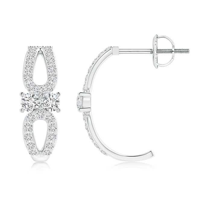 Angara Bypass Two Stone Diamond Hoop Earrings h7ZSP69