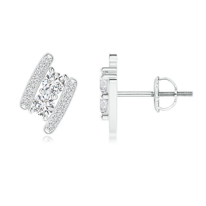 Angara Bypass Classic Round Diamond Double Stone Earrings LEOWX96teU