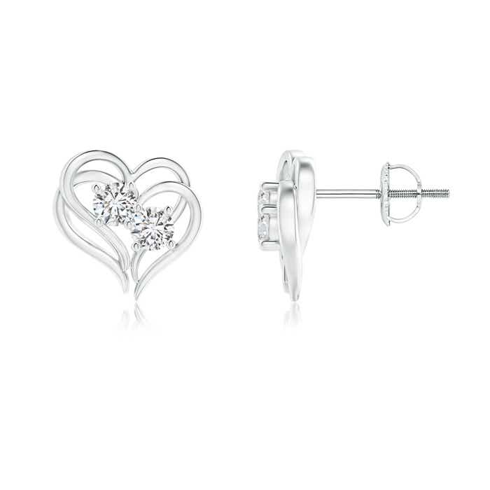Angara Two Stone Diamond Stud Earrings in White Gold 86zLGDiNZR