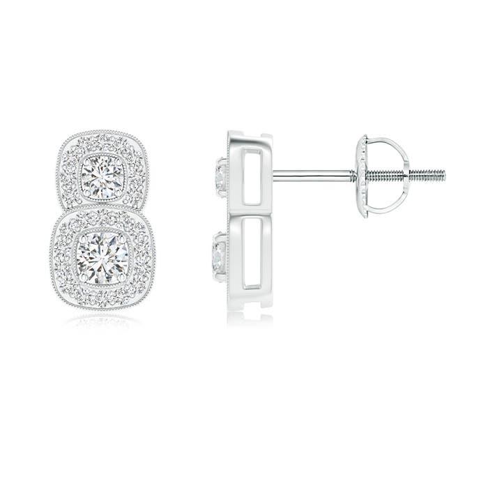 Angara Milgrain-Edged Two Stone Diamond Halo Earrings DGj1UxgC