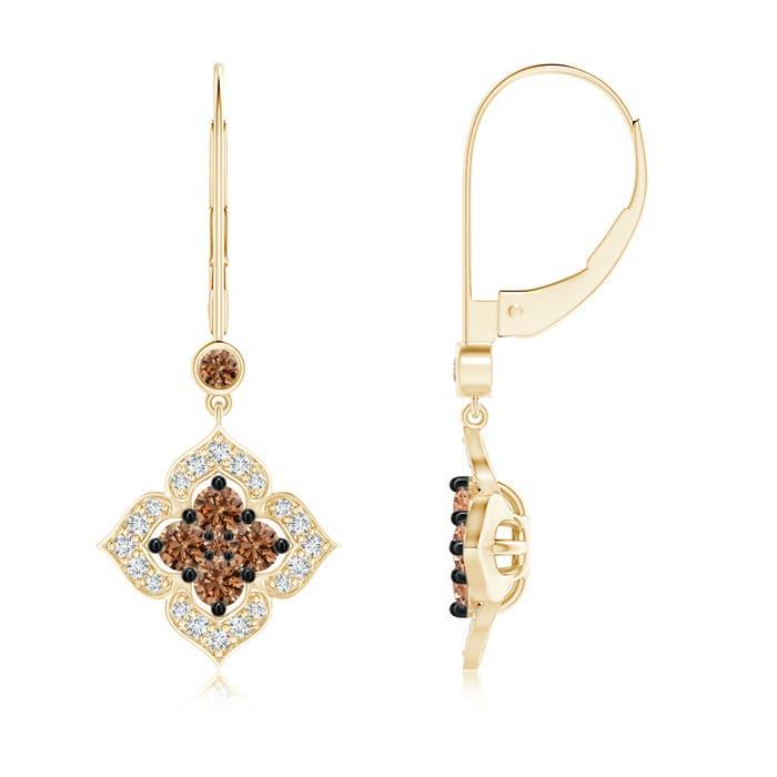 Angara Brown and White Diamond Clover Dangle Earrings qsrx4hTcIk