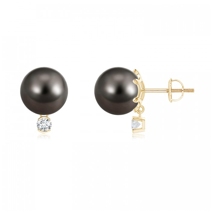 Angara Tahitian Pearl Earrings Yellow Gold kwcMG