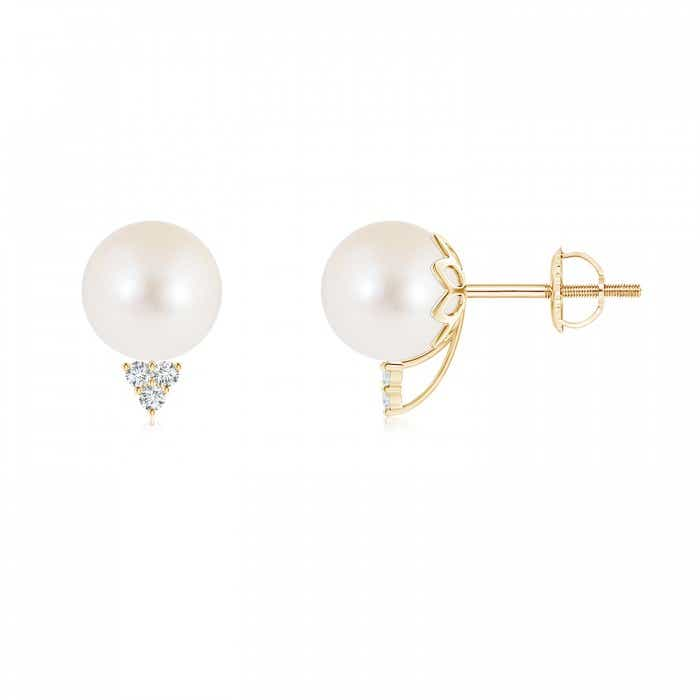 Angara Freshwater Cultured Pearl Bypass Earrings with Diamonds etEKe9Z1Ox