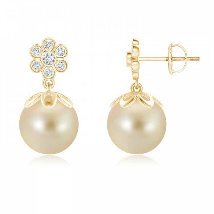 Angara South Sea Cultured Pearl Fleur De Lis Drop Earrings zNb41XfgB