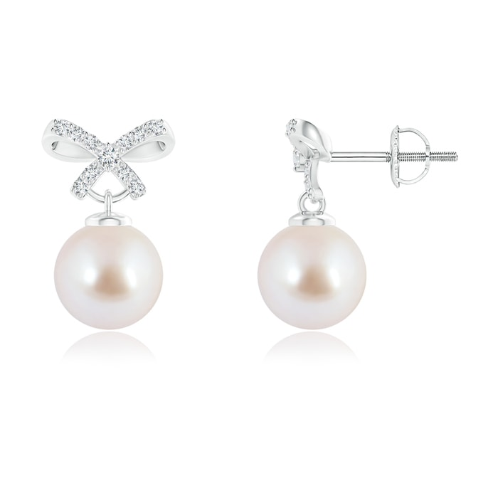 Angara Akoya Cultured Pearl Bow Stud Earrings with Diamonds NvuIY