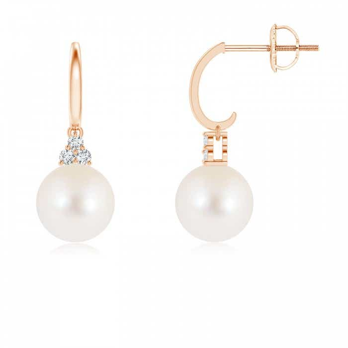 Angara Freshwater Cultured Pearl Half Hoop Earrings with Diamonds ep3tuOnM
