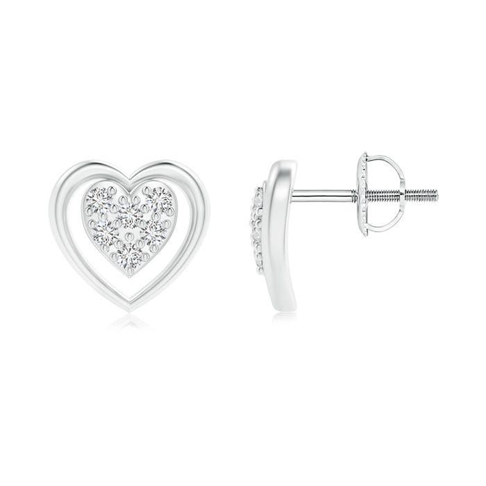 Angara Open Heart Round Diamond Stud Earrings in Yellow Gold lloWHMw9K