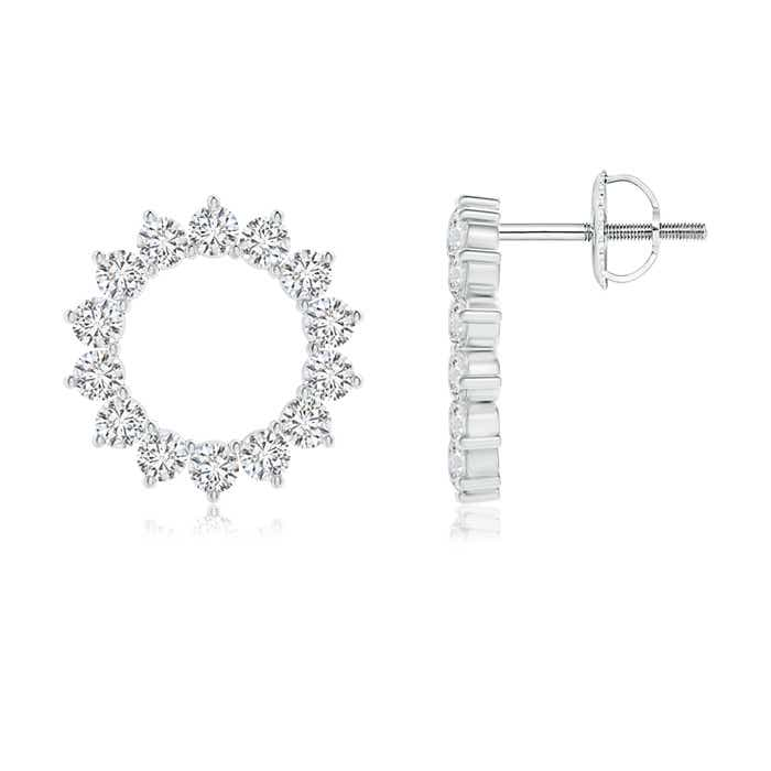 Angara Round Diamond Studded Concentric Circle Earrings