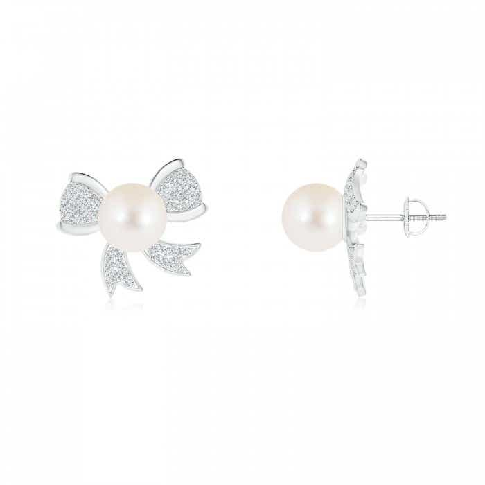 Angara Freshwater Cultured Pearl Bow Earrings with Diamond Accents LVRSVzYKAu