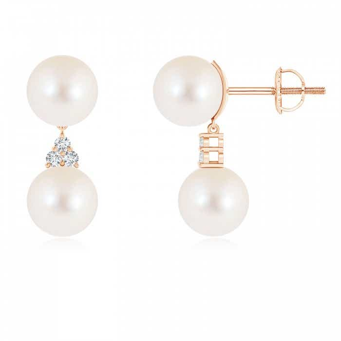 Angara Freshwater Cultured Pearl Double Drop Earrings with Diamonds 4PRYXGp