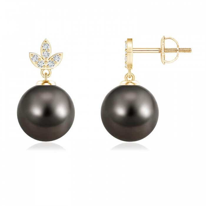Angara Tahitian Cultured Pearl Earrings with Diamond Leaf Motifs czKMQiGhB