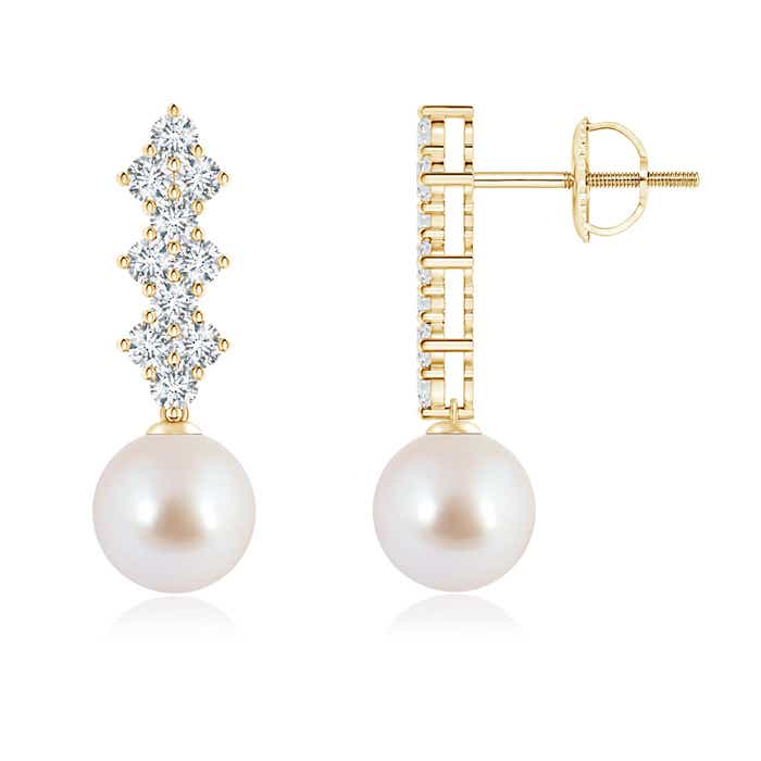Angara Akoya Cultured Pearl and Diamond Infinity Earrings eS2SDv