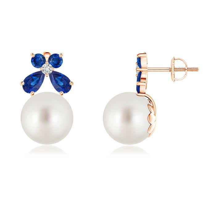 Angara South Sea Cultured Pearl and Sapphire Butterfly Earrings 4qXynMKbL