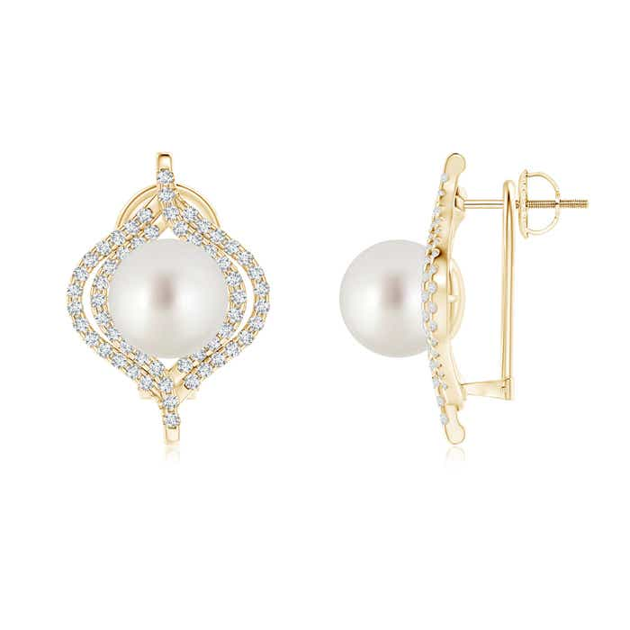 Angara South Sea Cultured Pearl Omega Back Double Halo Earrings LhUqra3