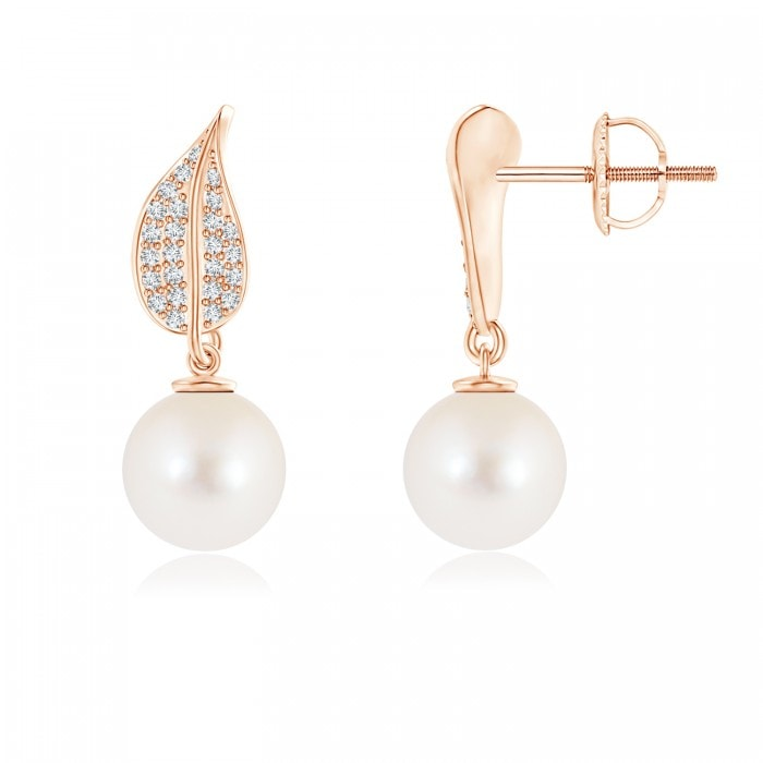 Angara South Sea Cultured Pearl Geometric Earrings with Diamonds