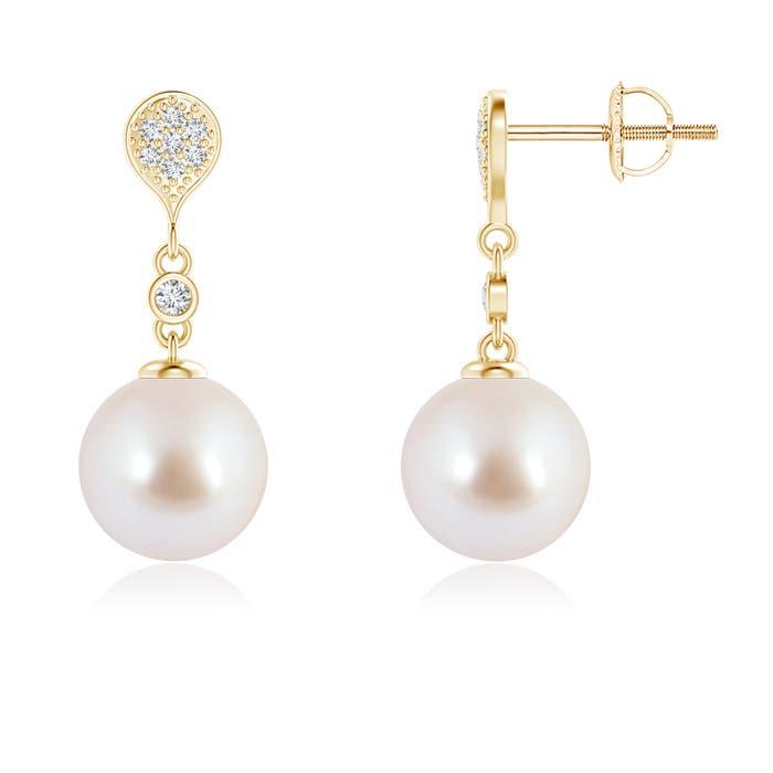 Angara Akoya Cultured Pearl Drop Earrings with Twin Diamonds ibzHt