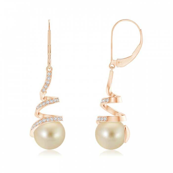 Angara Golden South Sea Cultured Pearl Leverback Drop Earrings Vxralq