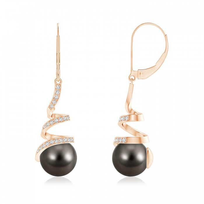 Angara Tahitian Cultured Pearl Earrings with Diamond Ribbon nnP9DCh