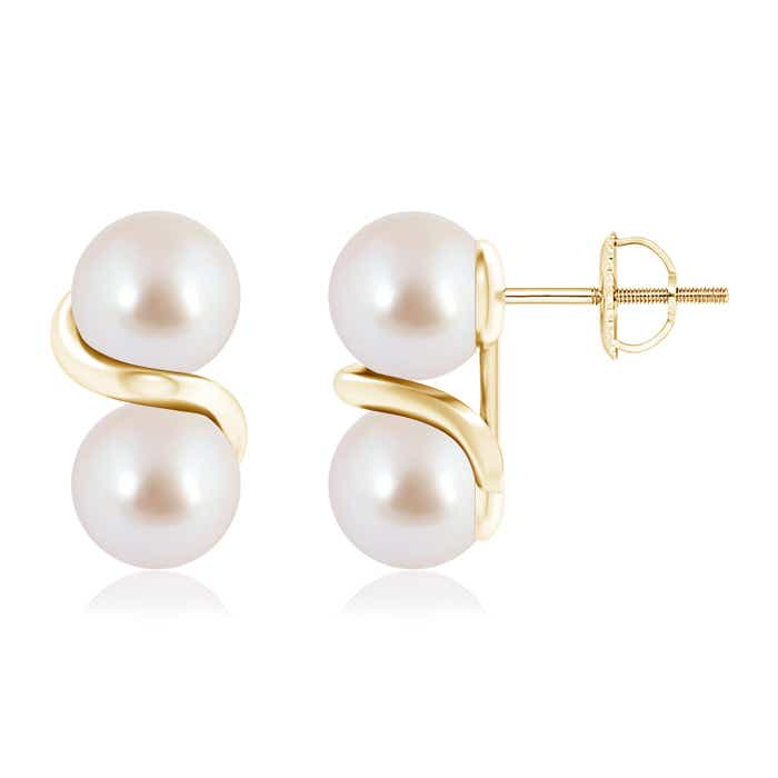 Angara Two Stone Akoya Cultured Pearl Front Back Earrings 2J3Nn