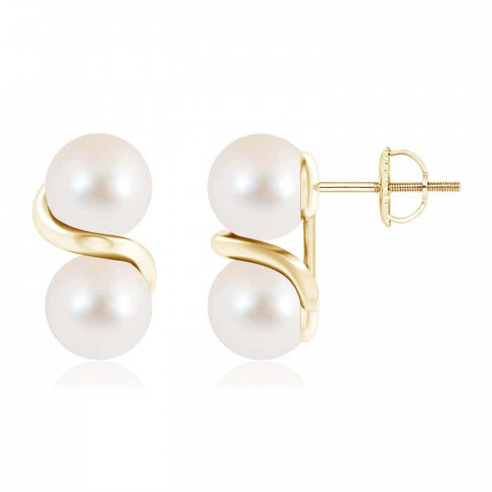 Angara Freshwater Cultured Pearl and Diamond Swirl Earrings DIJ552