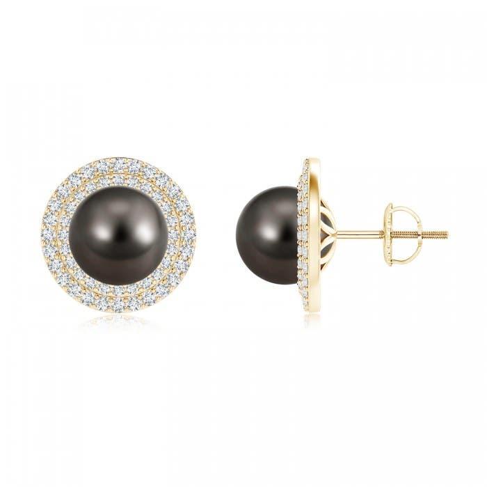 Angara Tahitian Cultured Pearl Double Halo Stud Earrings iGaf2dNx