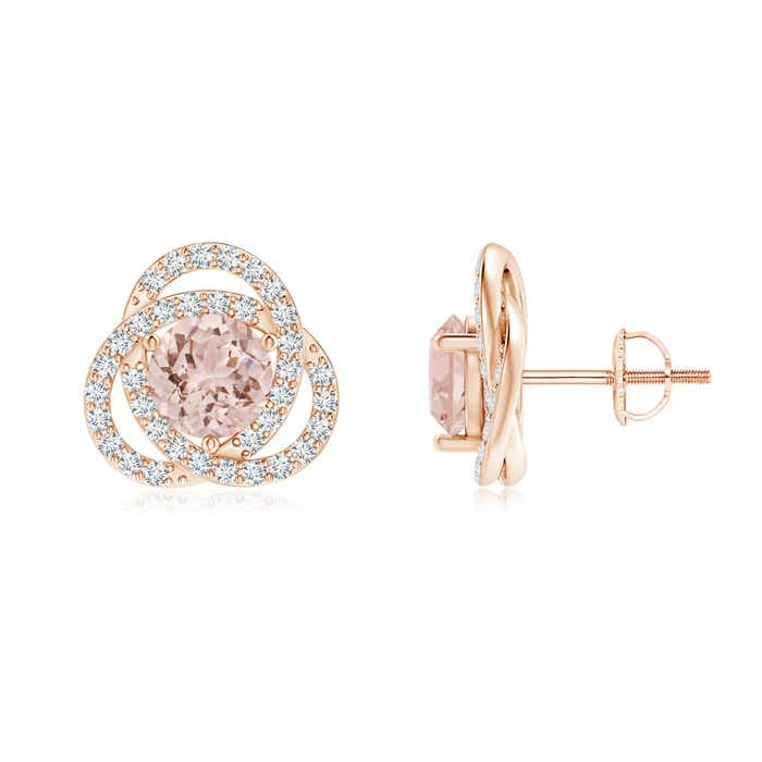 Angara Morganite Cocktail Earrings in Yellow Gold