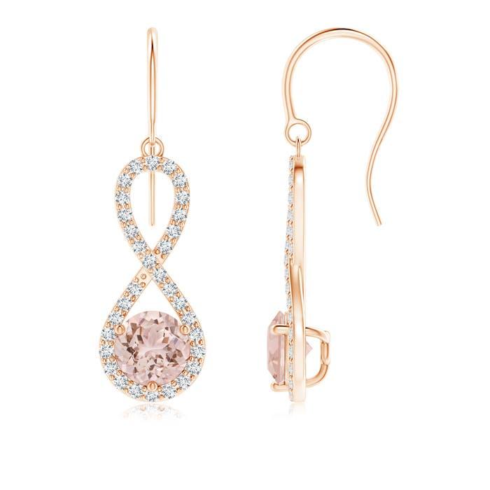 Angara Floating Morganite Stud Earrings with Diamond Halo RYa8ynq
