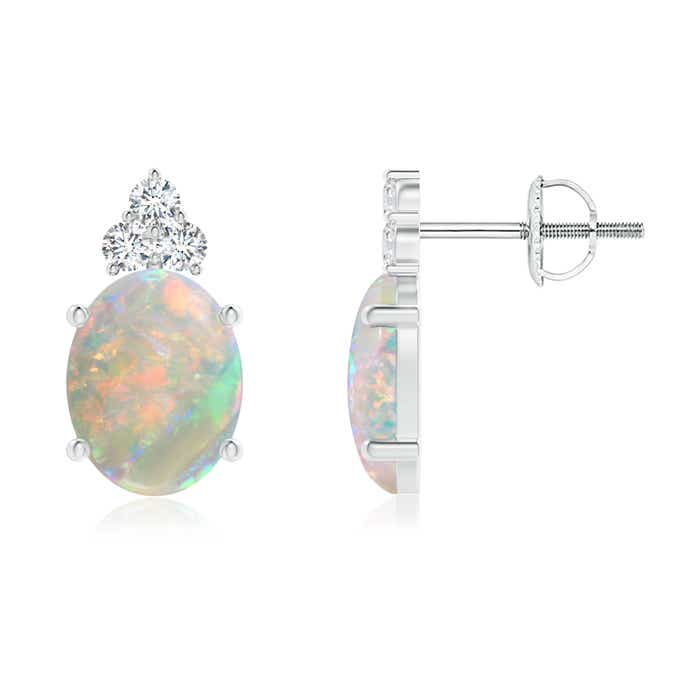 Angara Opal Earrings in White Gold