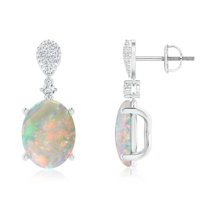 Angara Oval Opal Dangle Earrings with Diamond Halo
