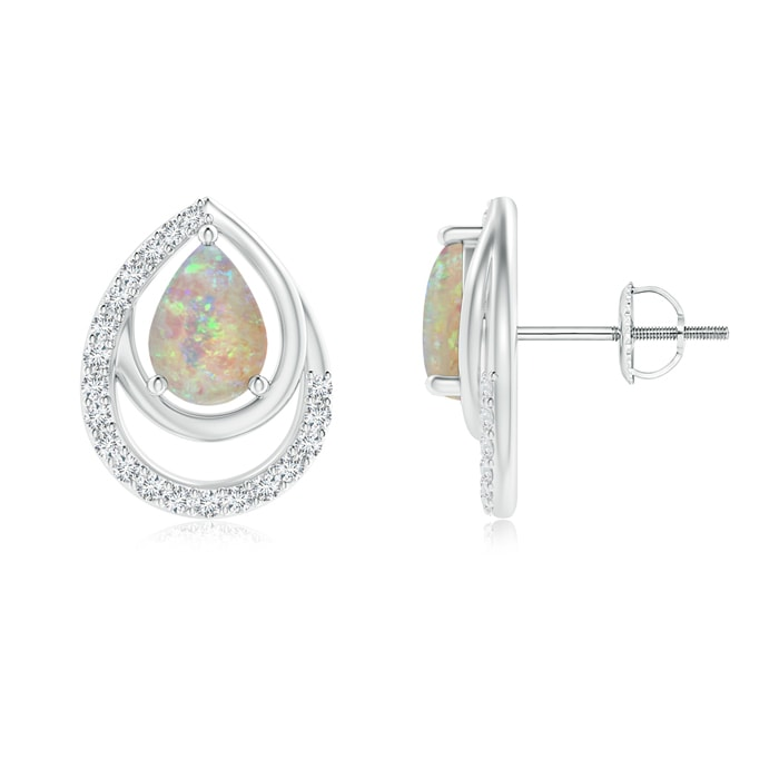 Angara Solitaire Pear Opal Swirl Earrings with Diamond Accents ut6RM