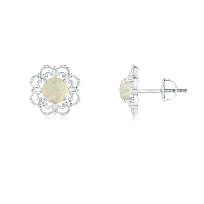 Angara Vintage Style Opal and Diamond Fleur De Lis Earrings in Rose Gold XzXEYYpz