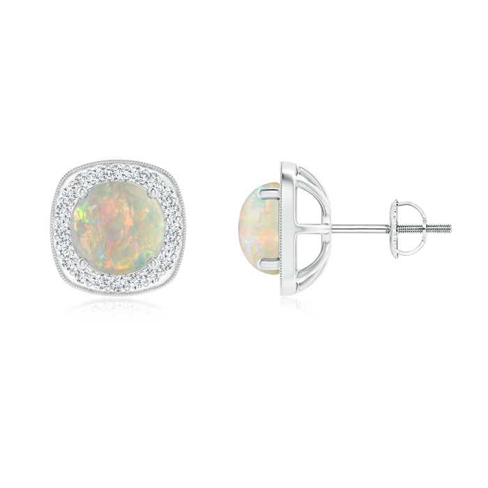 Angara Bar Set Round Diamond Halo Opal Stud Earrings in White Gold XXkl1vB