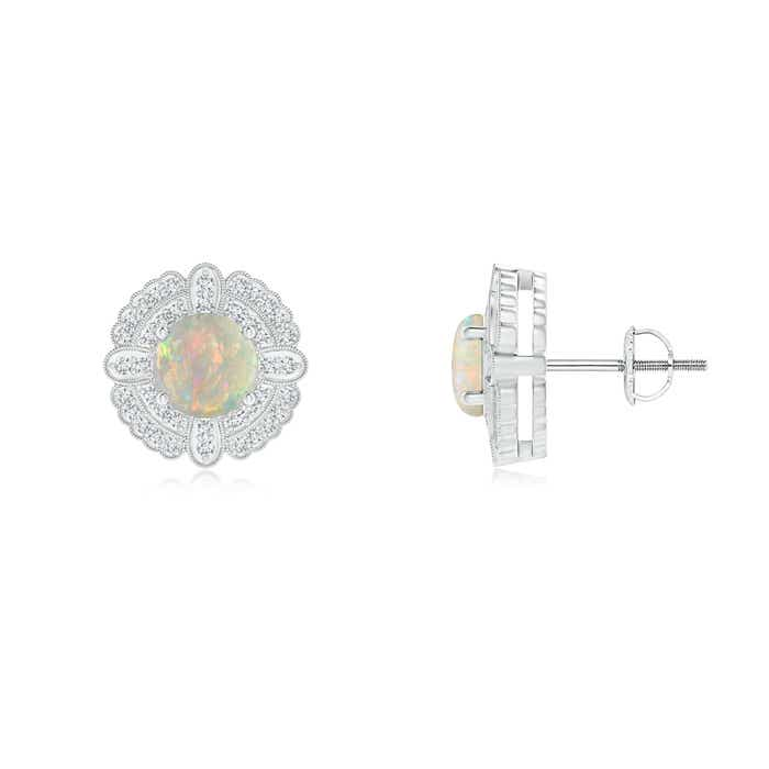 Angara Round Opal and Diamond Halo Stud Earrings in Yellow Gold 5XBw9l