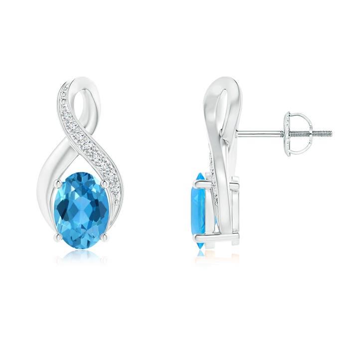 Angara Blue Diamond and White Diamond Infinity Twist Earrings in Yellow Gold oaO3U7aw0G