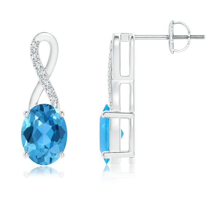 Angara Semi-Bezel Oval Swiss Blue Topaz Solitaire Earrings 8fNC0Z