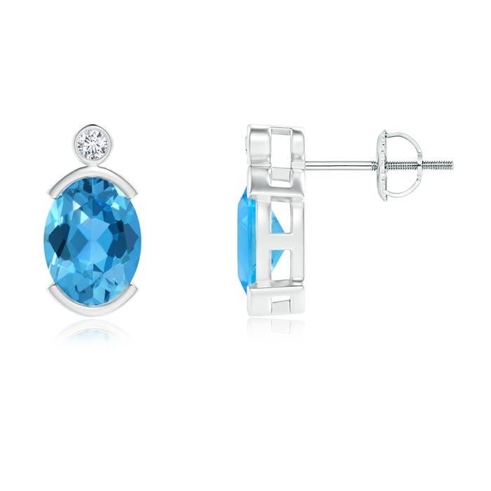 Angara Semi-Bezel Oval Swiss Blue Topaz Solitaire Earrings Jju9lK18