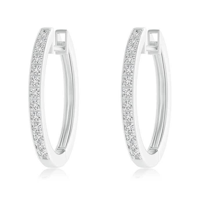 Angara Pave-Set Round Diamond Hinged Hoop Earrings