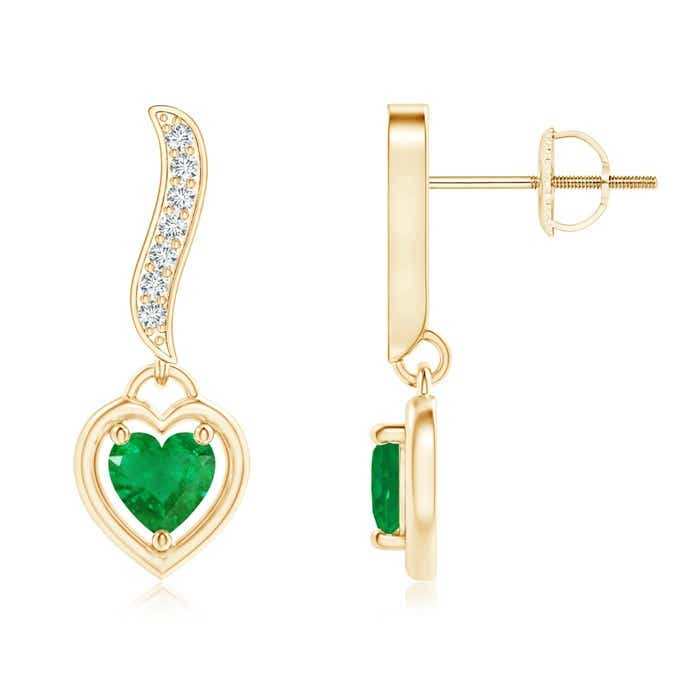 Angara Heart-Framed Emerald and Diamond Swirl Drop Earrings T4mYH8kN