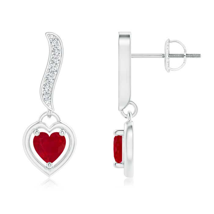 Angara Heart Ruby Drop Earrings in White Gold aLGz6w