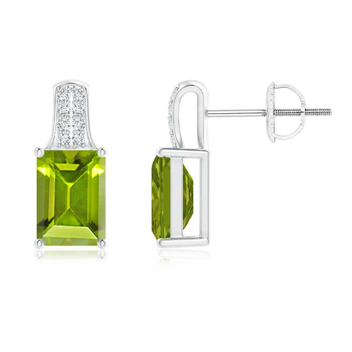 Angara Emerald-Cut Garnet Studs with Diamond Accents lHlOLdMR