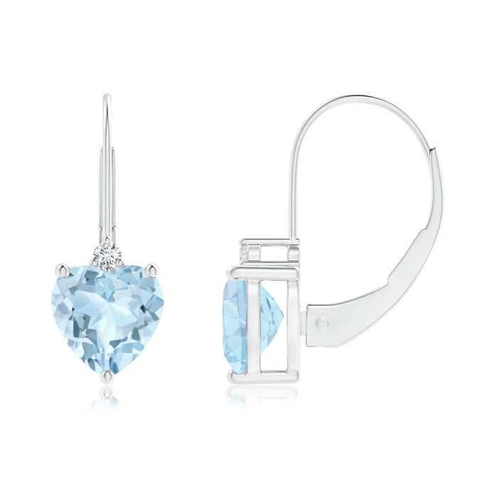Angara Solitaire Heart Aquamarine Leverback Earrings with Diamond gdHVt