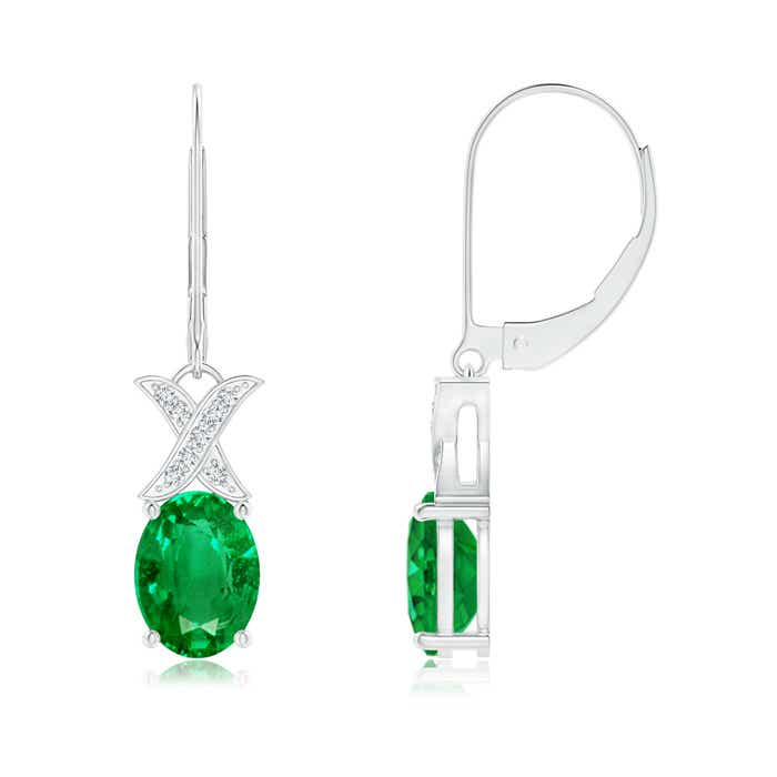 Angara Emerald and Diamond XO Stud Earrings 1YOPYqazO