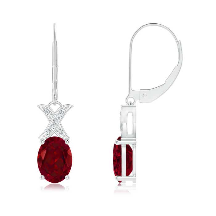Angara Oval Garnet Dangle Earrings with Diamond Halo