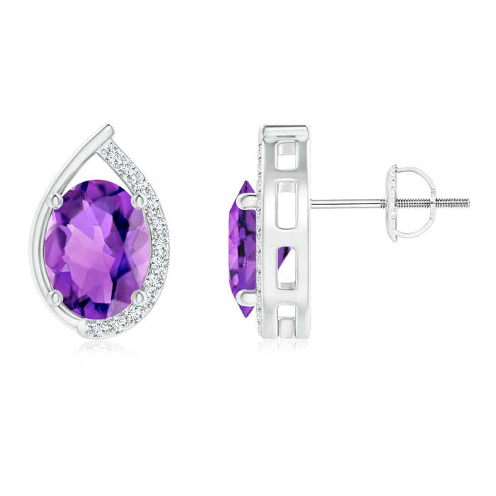 Angara Oval Amethyst Flower Stud Earrings with Diamond Halo ABtMkV