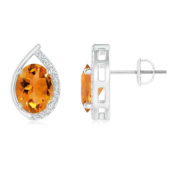 Angara Teardrop Framed Oval Citrine Solitaire Earrings in 14K White Gold cs6fkAV7nG