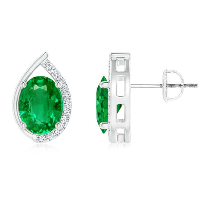 Angara Floating Oval Emerald Swirl Earrings with Diamond Accents 3CBYOr