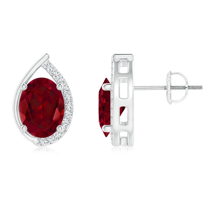 Angara Oval Garnet Stud Earrings White Gold 46Si9b3I0f
