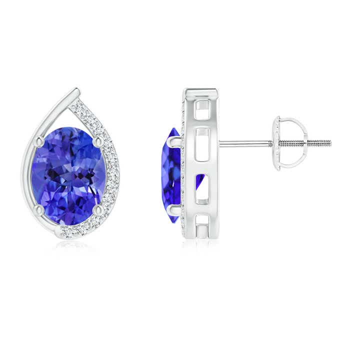 Angara Oval Tanzanite Flower Stud Earrings with Diamond Halo in 14K Rose Gold