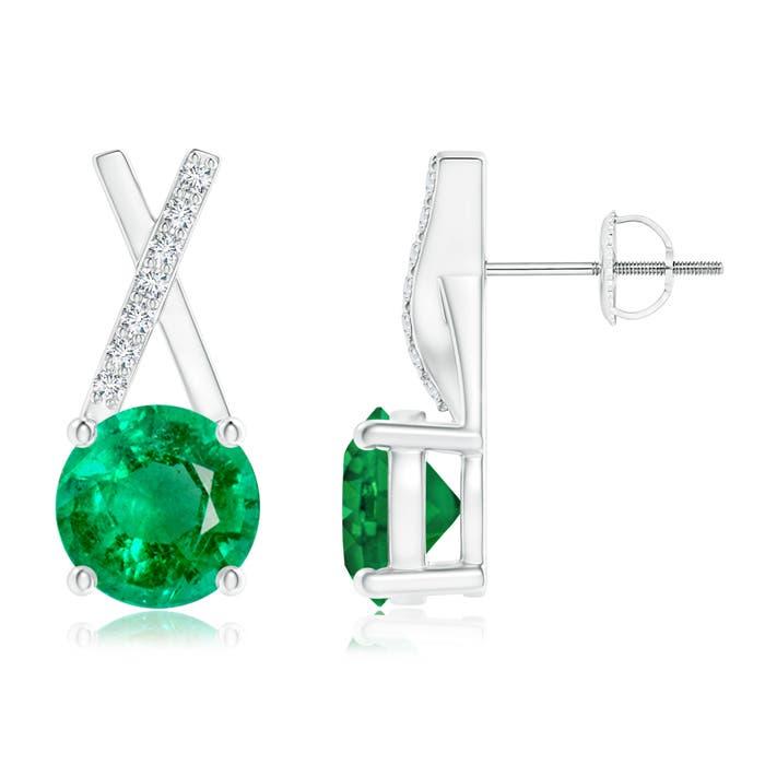 Angara Bezel-Set Emerald Infinity Stud Earrings with Diamonds V5gVRgf