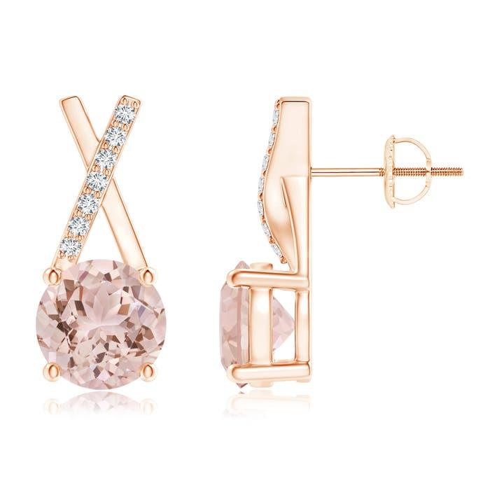 Angara Morganite and Diamond XO Stud Earrings zlt3Rv9Ej